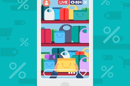 Shop Discounts Live Stream Illustration