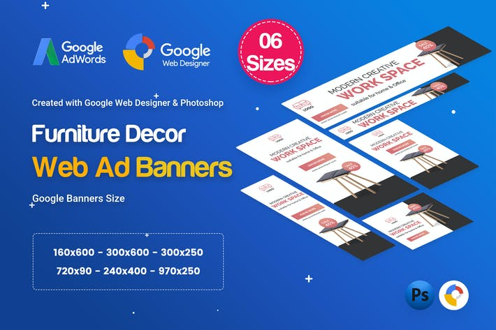 Thumbnail for Furniture Decor Banners HTML5 D44 Ad - GWD & PSD