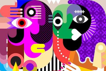 Две Женщины Абстракция Изобразительное Искусство Портрет