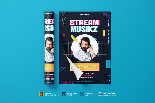 Online Music Stream Flyer Template Vol. 01