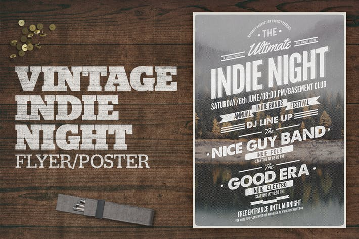 Cover Image For Vintage Indie Night Poster