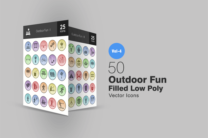 Cover Image For 50 Outdoor Fun Filled Low Poly Icons
