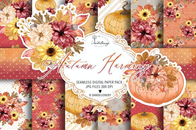 Autumn Harmony digital paper pack