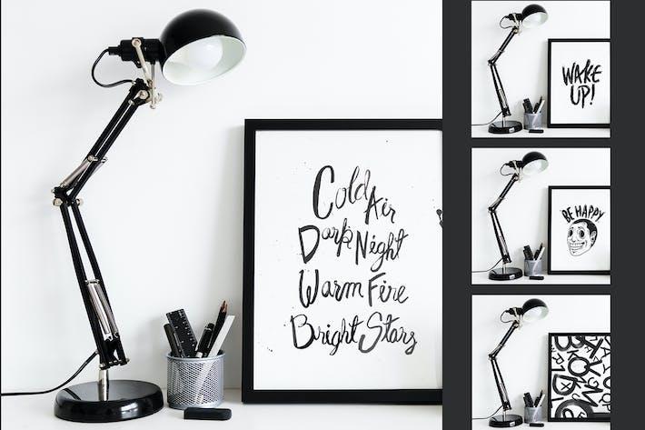 Schwarze Lampe mit Rahmen-Mockup-Design