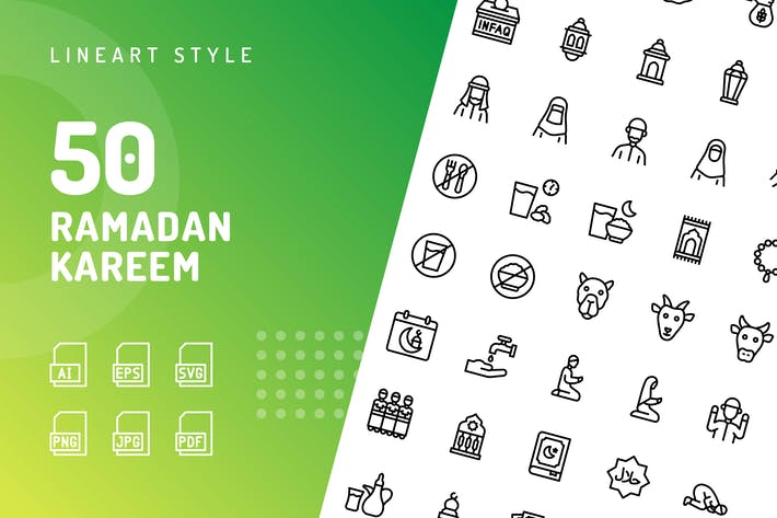 Thumbnail for Ramadan Kareem Line Icons
