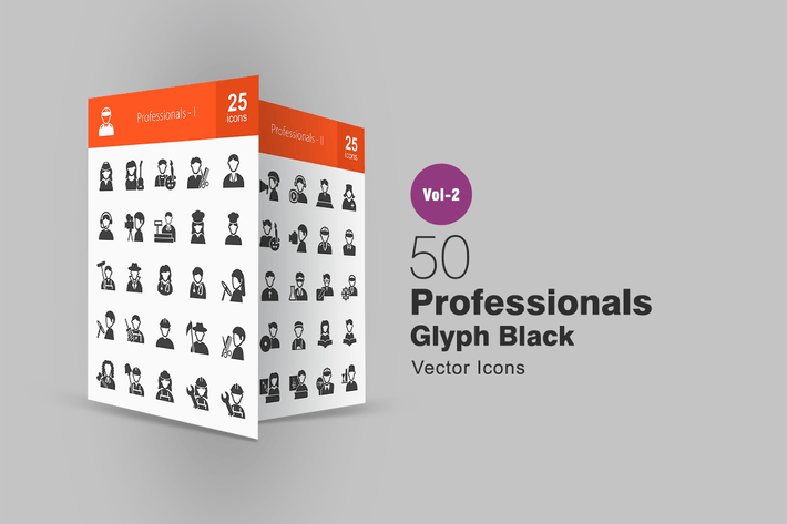 Thumbnail for 50 Professionals Glyph Icons
