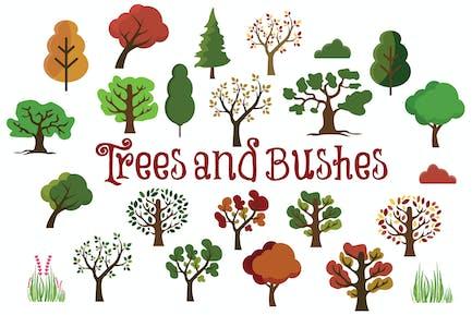 Tree & Bushes Hand Drawn