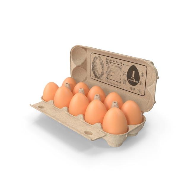 Huevos en envase de cartón abierto