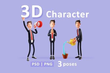 Geschäftsmann - 3D-Charakter in drei verschiedenen Posen