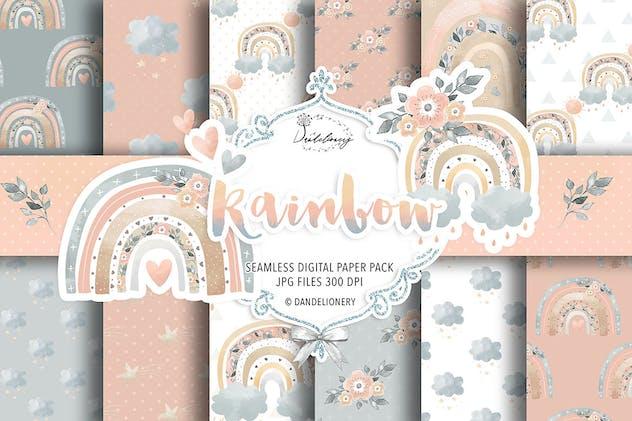 Rainbow baby girl digital paper pack
