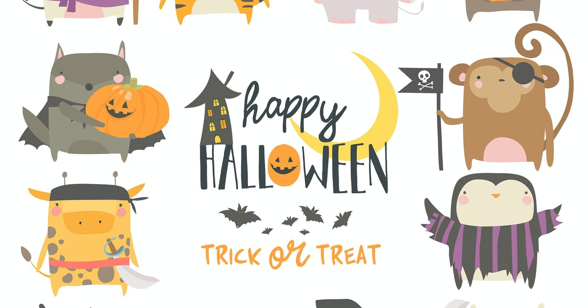 Download Set of funny animal characters dressed in Hallowee by masastarus