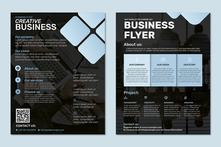 Black business flyer template in modern design