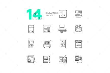 Calculators - modern line design icons set