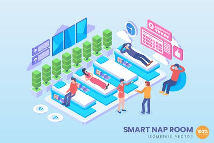Concepto Vector Isométrico Inteligente Nap Room