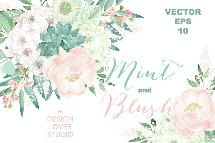 Thumbnail for Vector Watercolor Mint and Blush clipart