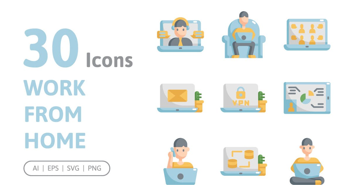 Download 30 Work From Home Icons by konkapp