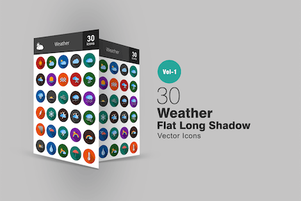 30 Wetter Flat Long Shadow Icons