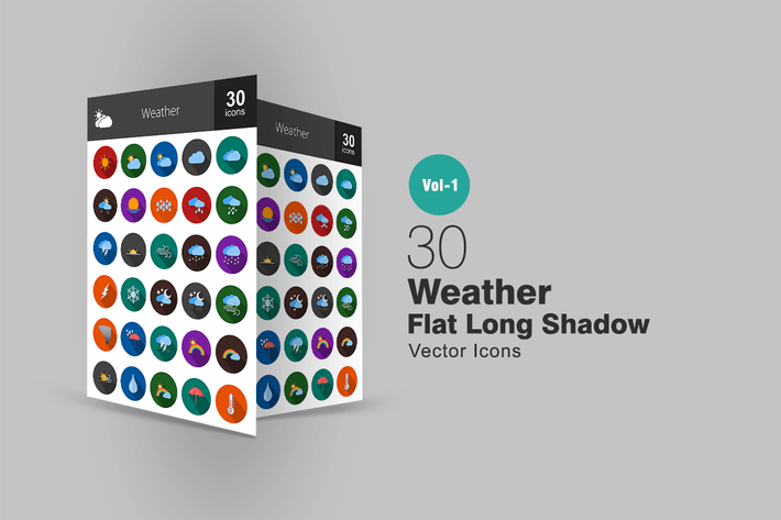 Thumbnail for 30 Wetter Flat Long Shadow Icons