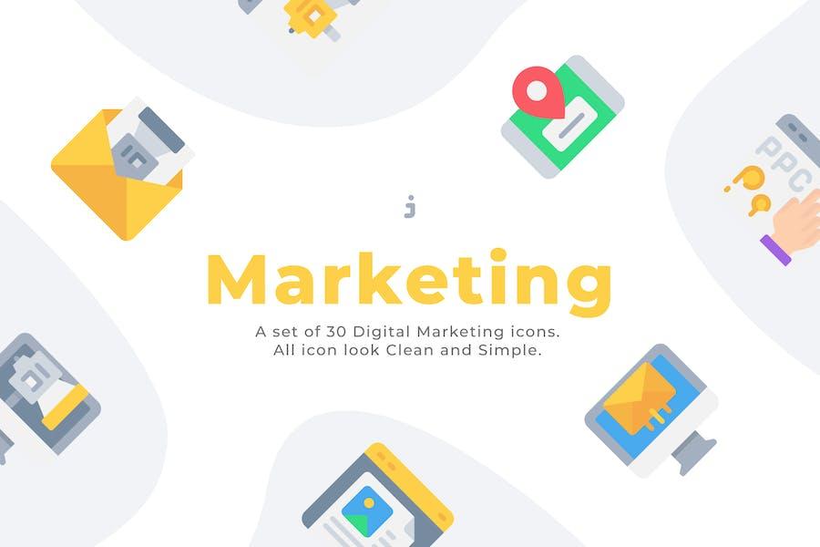 30 Íconos de Marketing Digital - Plano