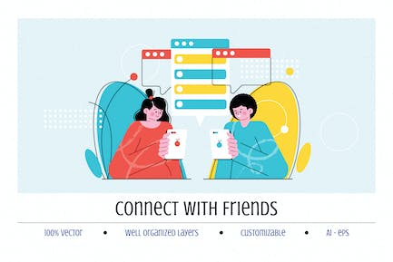 Connect with Friends Illustration