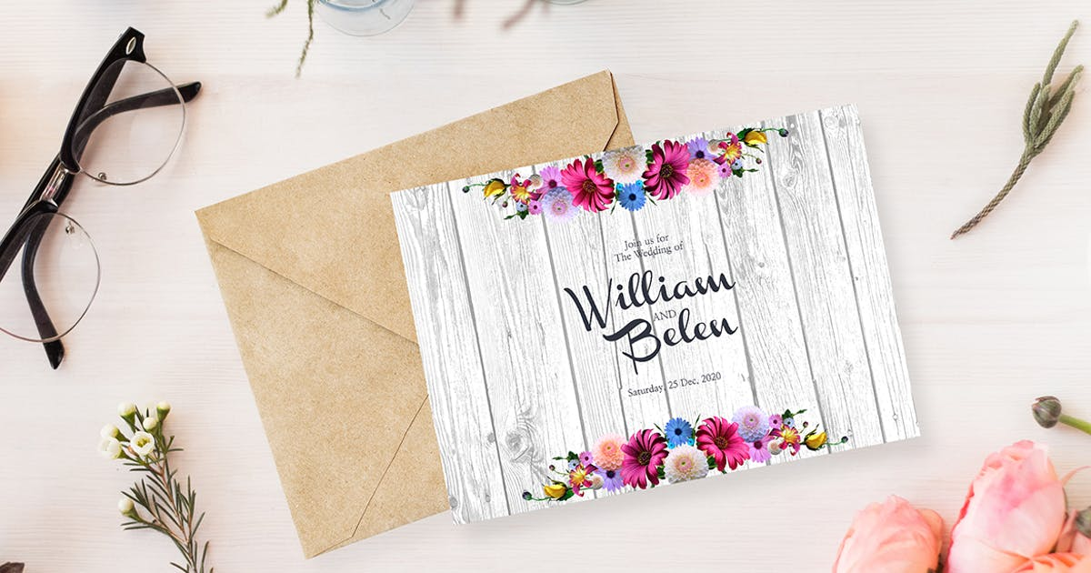 Download Floral Wedding Invitation Card by IconBunny