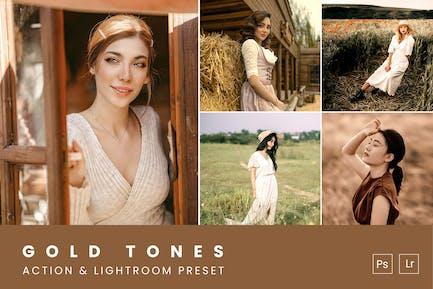 Gold Tones Action & Lightroom Preset