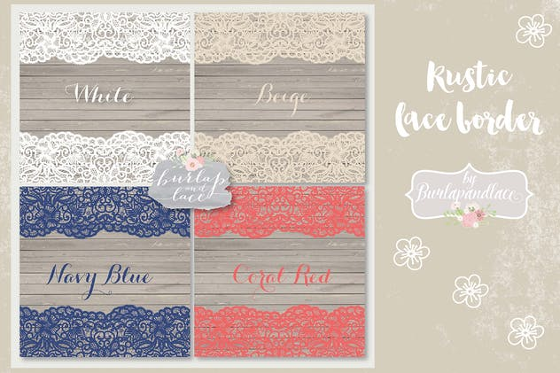 Lace Navy Blue, Coral red, White vector