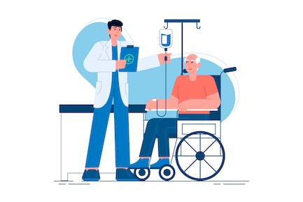 A Doctor Caring for An Elderly Person Illustration
