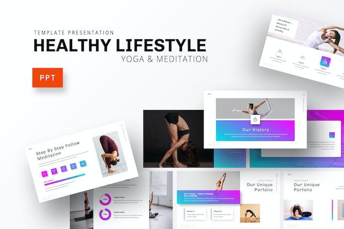 Здоровый образ жизни - Йога Powerpoint Шаблон