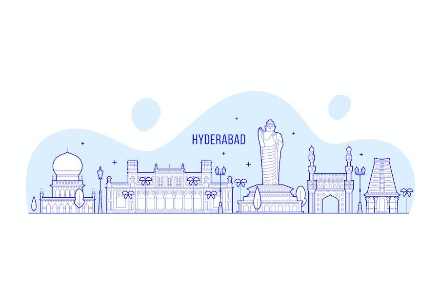 Hyderabad skyline, India