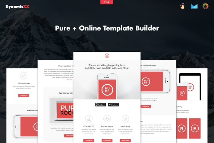 Thumbnail for Pure - Responsive APP Email Template