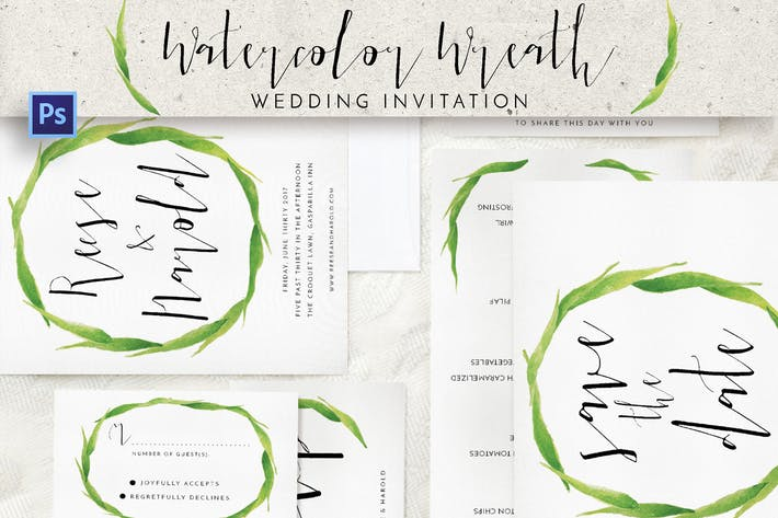 Thumbnail for Watercolor Wreath Wedding Invitation