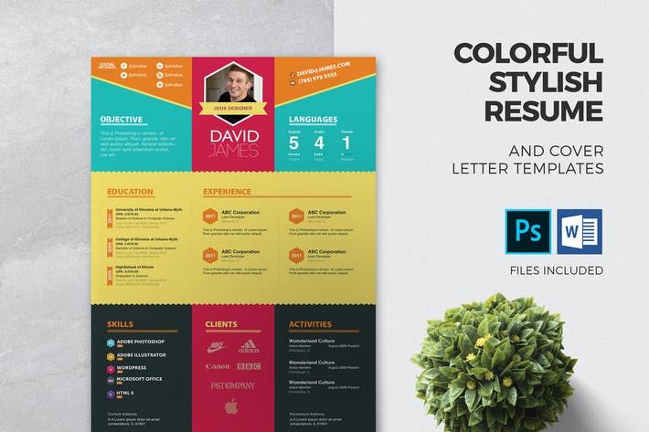 Thumbnail for Colorful Stylish Resume and Cover Letter Template