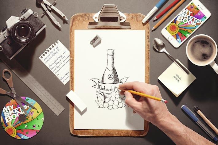 sketchbook stationery scene creator mock up by vasaki on envato