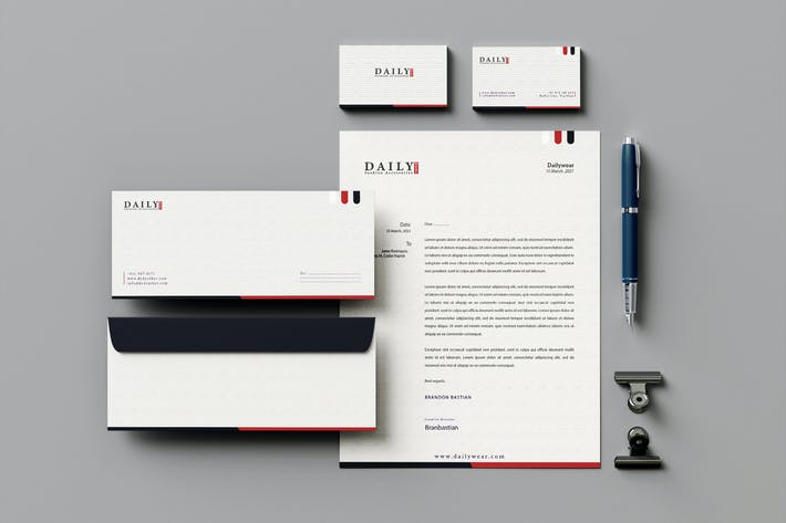Thumbnail for Dailywear Branding Identity & Stationery Pack