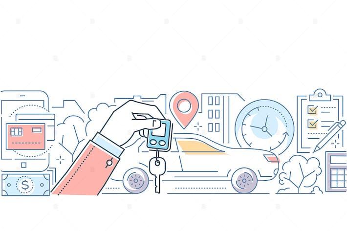 Thumbnail for Car rent - modern line design style illustration