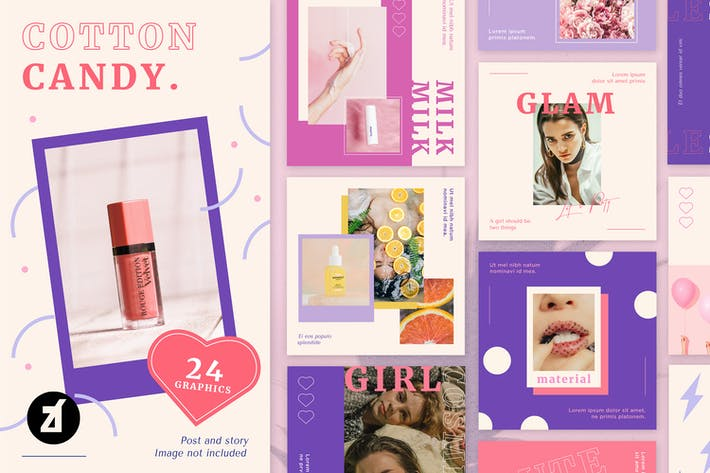 Thumbnail for Cotton candy social media graphic templates