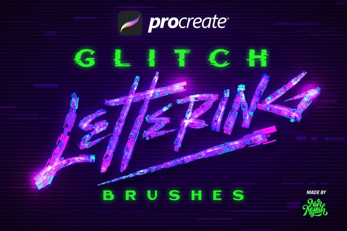 Thumbnail for Procreate Glitch Lettering Brushes