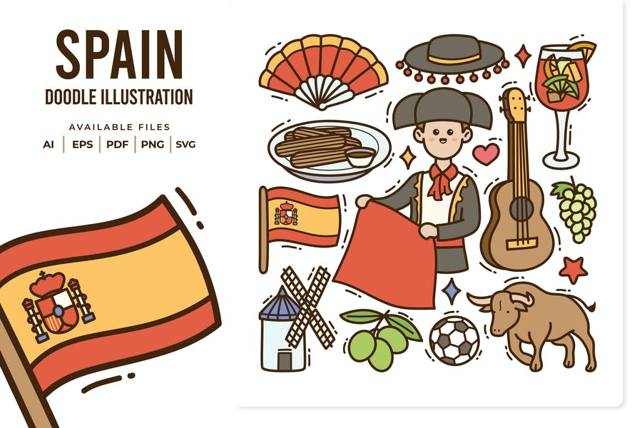 Spain Doodle Illustration