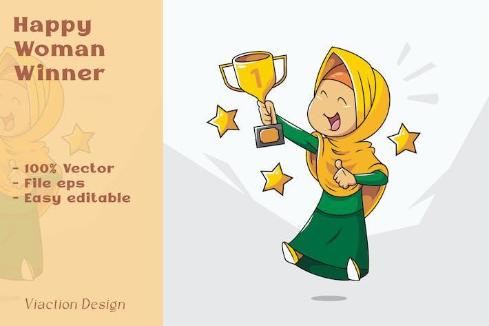 DV - Иллюстрация победителя счастливой женщины