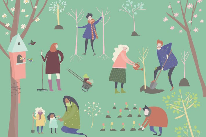 Thumbnail for Cute cartoon people are gardening in spring park.