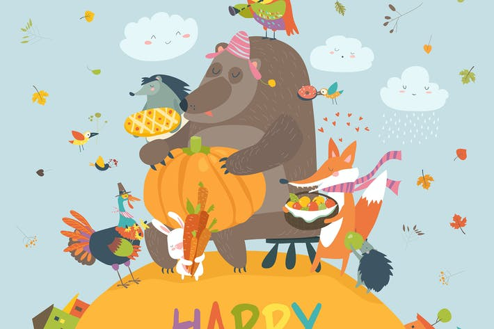Thumbnail for Cute animals celebrating Thanksgiving day. Vector