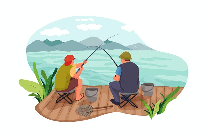 Two men fishing at a river
