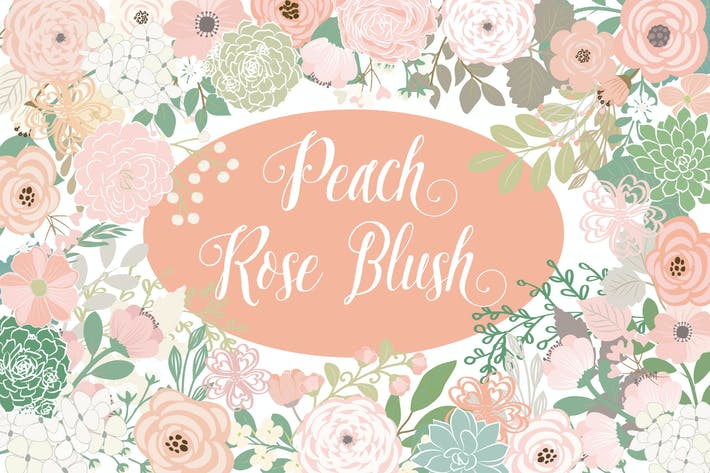 Thumbnail for Vector Peach rose blush flower elements