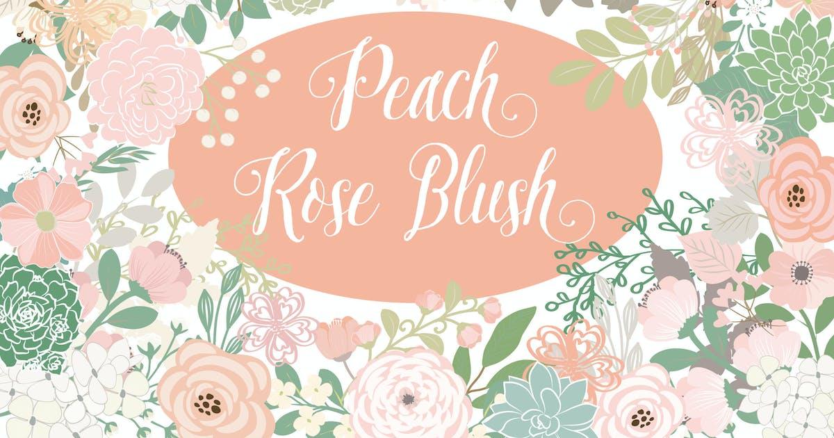 Download Vector Peach rose blush flower elements by designloverstudio