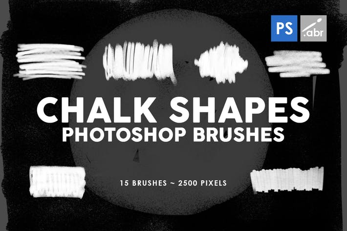 Thumbnail for 15 Chalk Shapes Photoshop Stamp Brushes