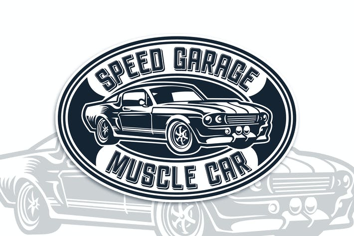 Thumbnail for Muscle Car Badge Logo Template