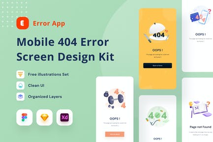 Mobile 404 Error Screen Design Kit