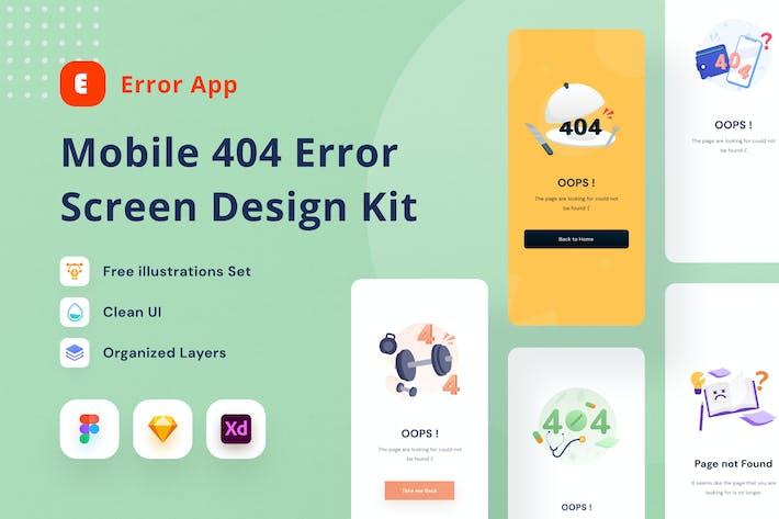 Thumbnail for Mobile 404 Error Screen Design Kit