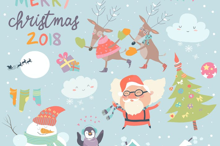 Thumbnail for Vector set of Christmas characters and icons